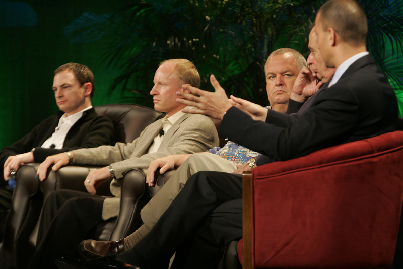 """FiReStarters I"": (L-R) Mark Turrell, Imaginatik; Tim Johnson, High Throughput Genomics; Bill Spencer, Hawaii Oceanic Technology; Mike Gering, Global Solar Energy; and Roy Schoenberg, American Well Systems"