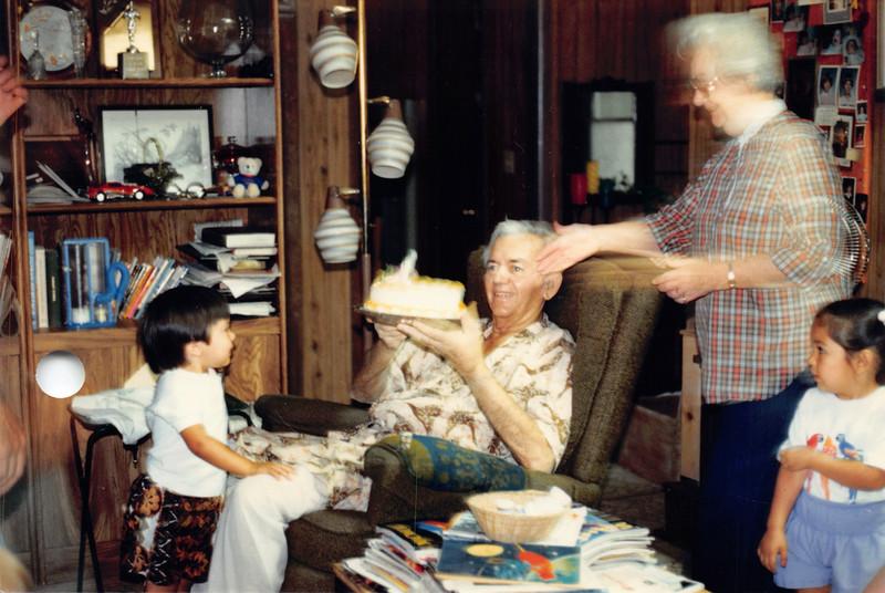 Grandpa's birthday, June 1986. Looks like Josh, Frankie, Alaya
