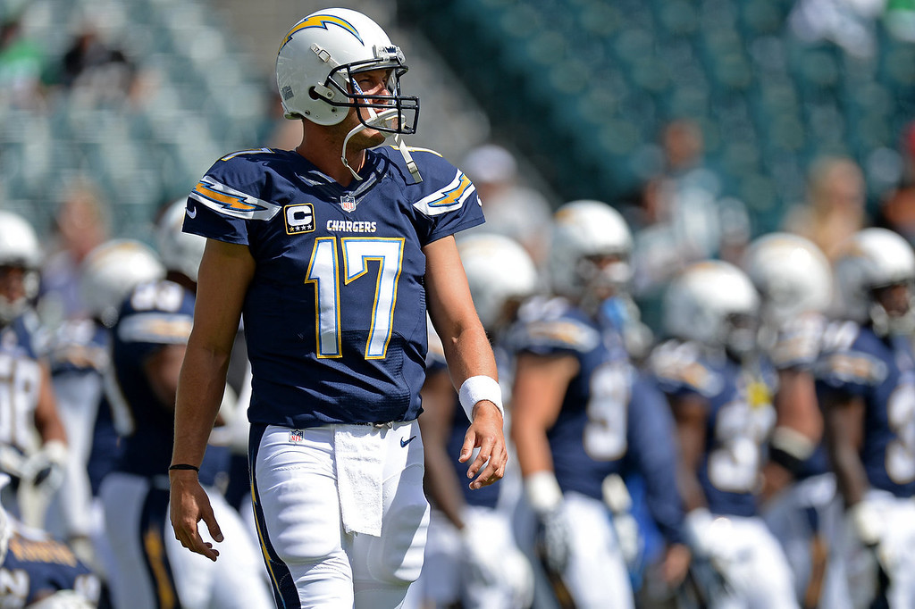 . Quarterback Philip Rivers #17 of the San Diego Chargers walks on the field during pre-game before playing the Philadelphia Eagles at Lincoln Financial Field on September 15, 2013 in Philadelphia, Pennsylvania. (Photo by Patrick Smith/Getty Images)