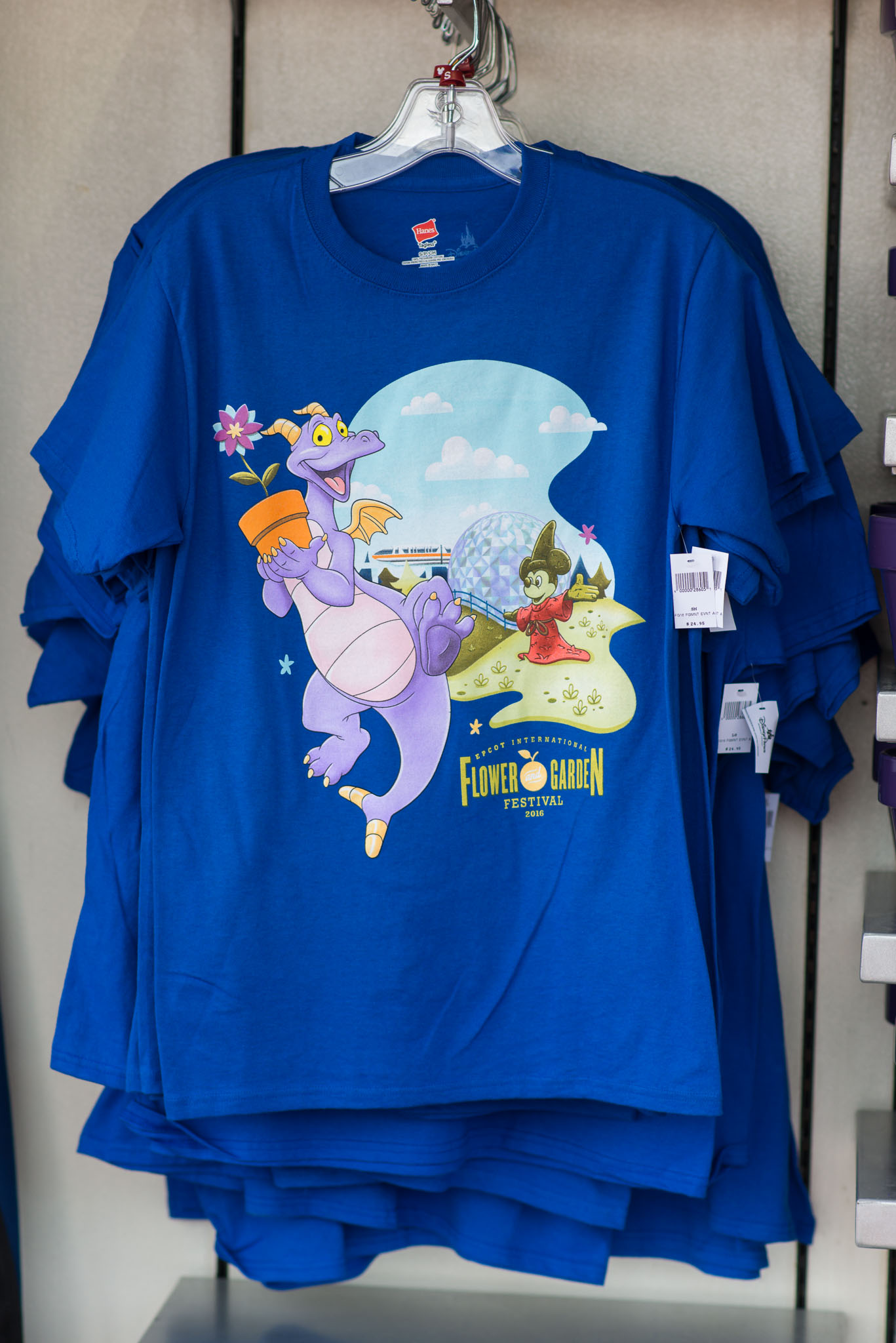 Blue T-Shirt Dragon Mickey Spaceship Earth - Epcot Flower & Garden Festival 2016