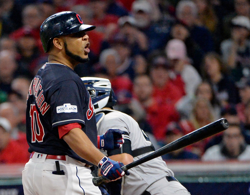 . Cleveland Indians\' Edwin Encarnacion reacts after striking out against New York Yankees starting pitcher CC Sabathia during the fourth inning of Game 5 of a baseball American League Division Series, Wednesday, Oct. 11, 2017, in Cleveland. (AP Photo/Phil Long)
