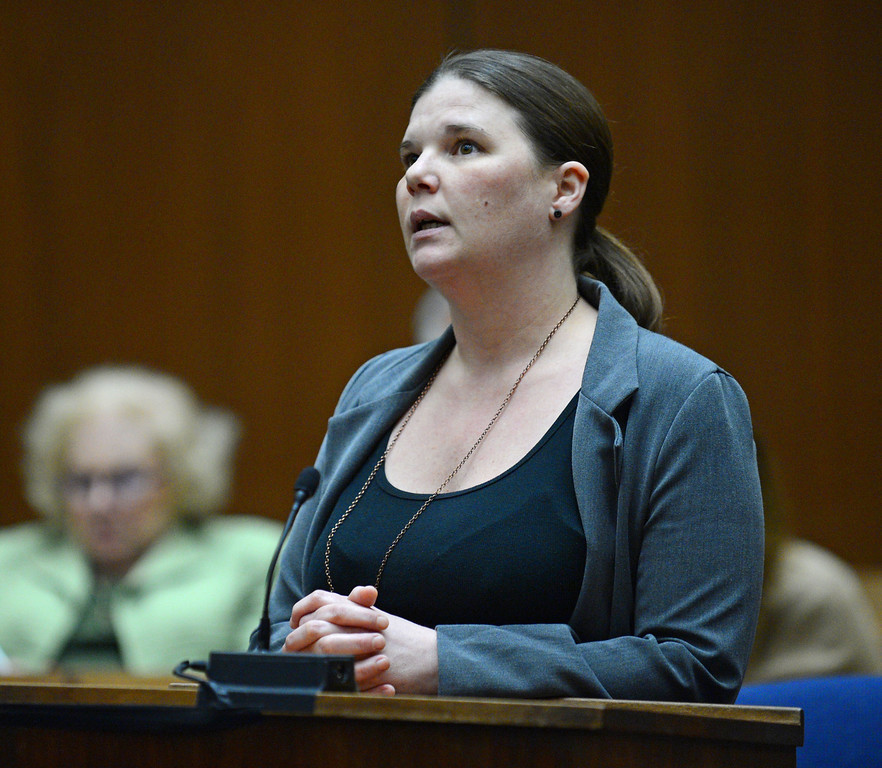 . Dawn Viens sister Dayna Papin makes a public statement  in the downtown superior courtroom of Judge Rand S. Rubin during the sentencing of David Viens in the sister\'s murder.  Photo by Brad Graverson/LANG