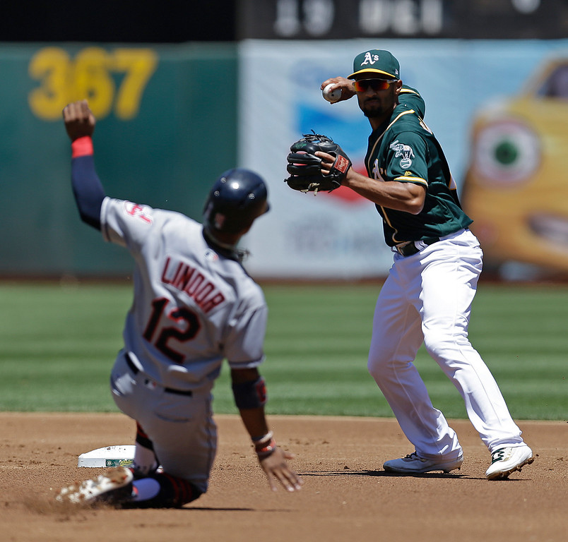 . Oakland Athletics\' Marcus Semien, right, prepares his throw over Cleveland Indians\' Francisco Lindor (12) to complete a double play in the first inning of a baseball game, Sunday, July 16, 2017, in Oakland, Calif. Indians\' Michael Brantley was out at first base. Oakland won 7-3. (AP Photo/Ben Margot)