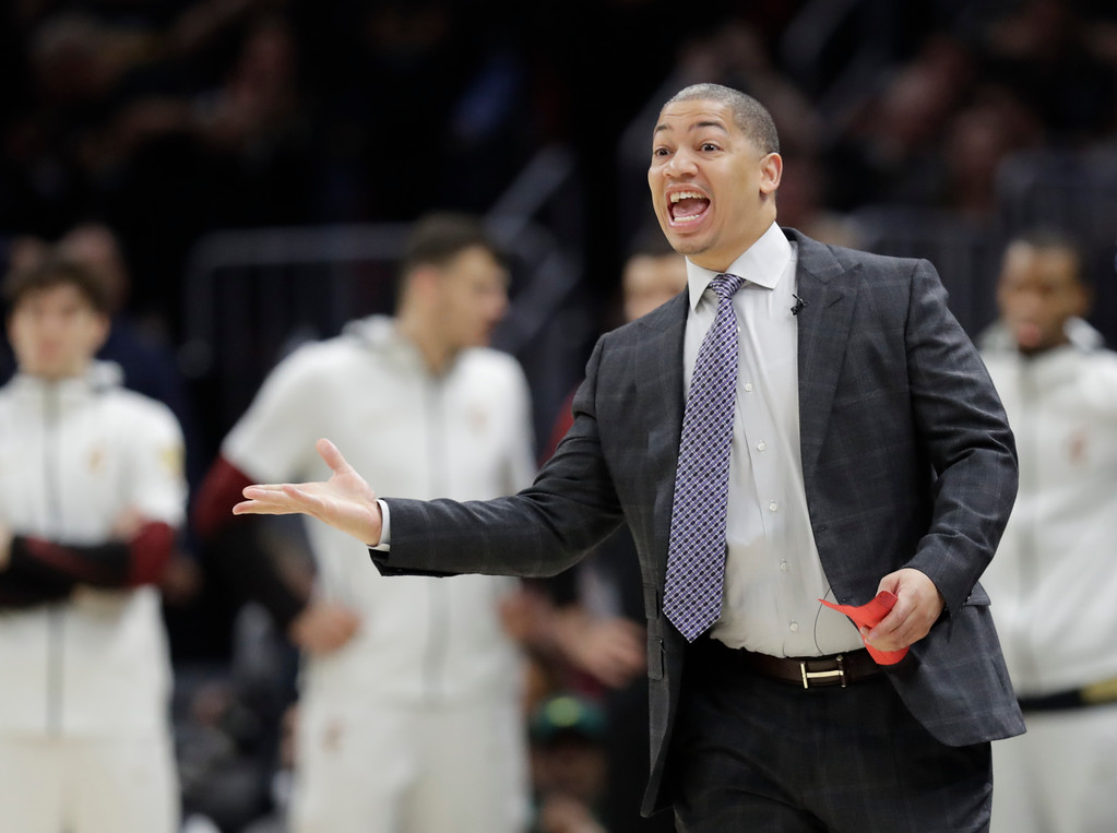 . Cleveland Cavaliers head coach Tyronn Lue calls a play in the first half of Game 3 of basketball\'s NBA Finals after the game, Wednesday, June 6, 2018, in Cleveland. (AP Photo/Tony Dejak)