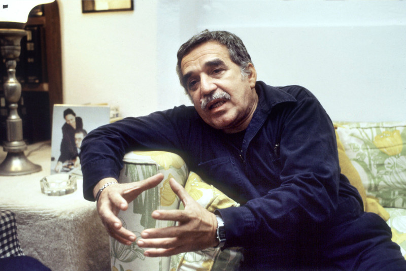 . Colombian writer Gabriel Garcia Marquez answers journalists\' questions aftre having been announced as winner of the Nobel Prize for Literature, 25 October 1982 in Mexico City.  (HASSE PERSSON/AFP/Getty Images)