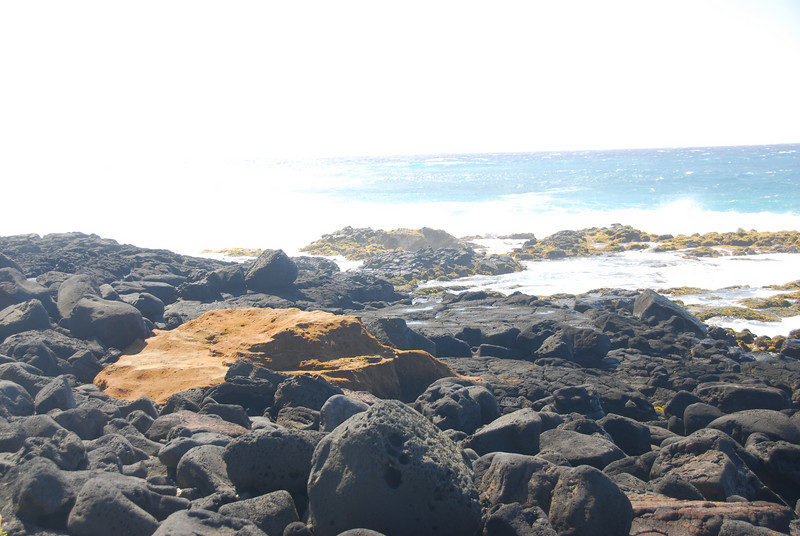 Rocky shore in South Point, Hawaii