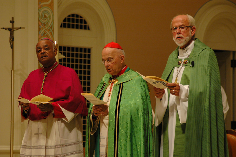 Leaders of the Oct. 1 JDDJ celebration at Old St. Patrick Church, Chicago, were, from left, Archbishop Wilton D. Gregory, Archdiocese of Atlanta; Cardinal Francis George, president, U.S. Conference of Catholic Bishops and the Rev. Mark S. Hanson, presiding bishop, Evangelical Lutheran Church in America and president, the Lutheran World Federation.