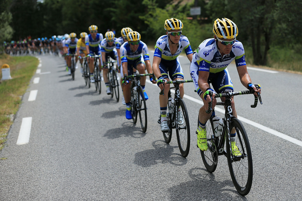 . Stuart O\'Grady of Australia and Team Orica Greenedge rides at the front of the team protecting Simon Gerrans of Australia in the yellow jersey during stage five of the 2013 Tour de France, a 228.5KM road stage from Cagnes-sur-mer to Marseille, on July 3, 2013 in Marseille, France.  (Photo by Doug Pensinger/Getty Images)