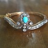 2.65ctw Victorian Turquoise and Rose Cut Diamond Tiara Bangle 7