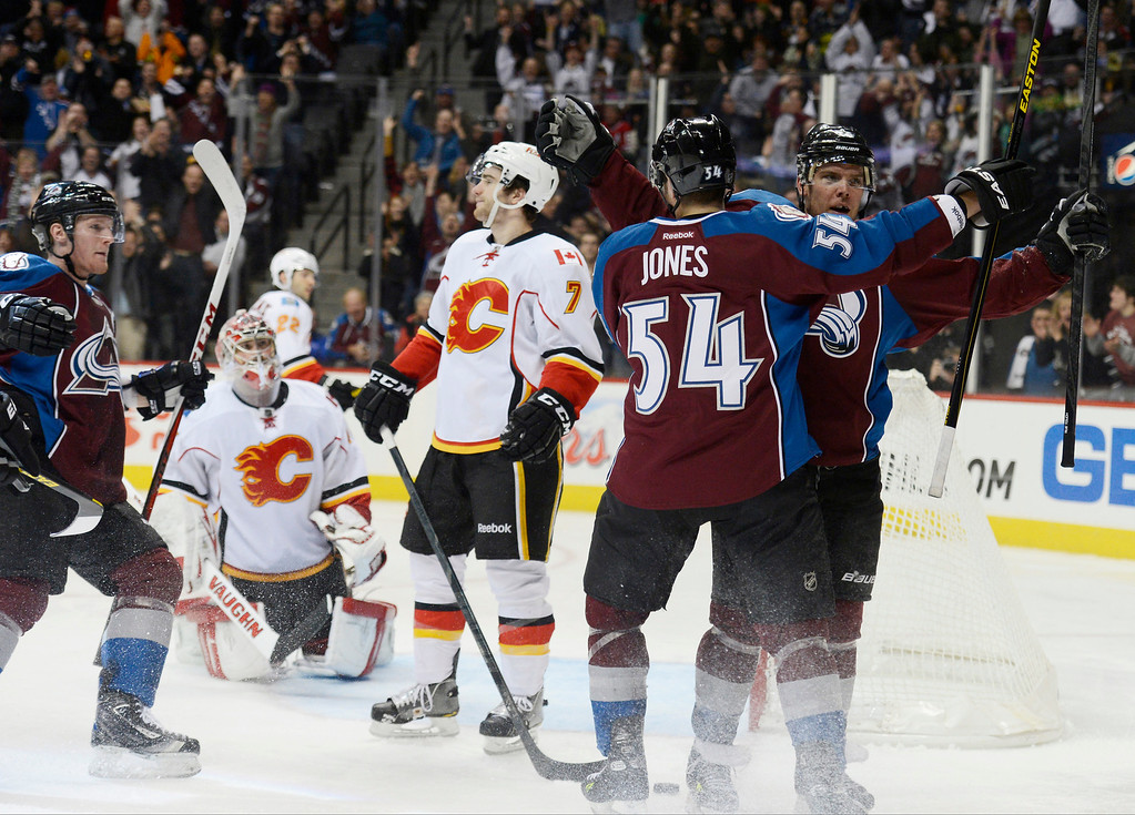 . DENVER, CO. - FEBRUARY 28: Paul Stastny (26) of the Colorado Avalanche celebrates his goal with David Jones (54) of the Colorado Avalanche in the third period against the Calgary Flames February 28, 2013 at Pepsi Center. The Colorado Avalanche defeated the Calgary Flames 5-4. (Photo By John Leyba/The Denver Post)