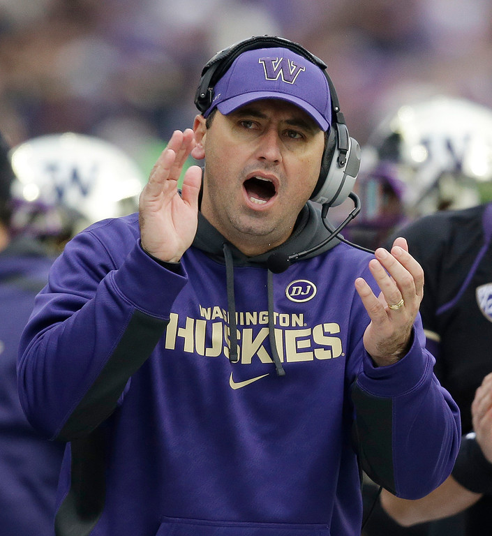 . Washington head coach Steve Sarkisian yells from the sidelines against Washington State in the second half of an NCAA college football game Friday, Nov. 29, 2013, in Seattle. (AP Photo/Elaine Thompson)