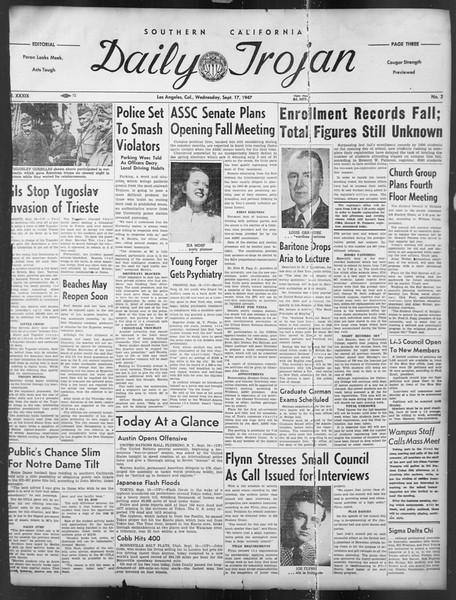 Daily Trojan, Vol. 39, No. 3, September 17, 1947
