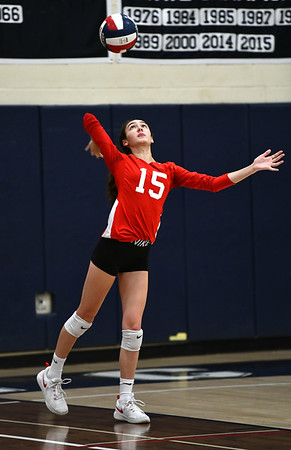 11/7/2019 Mike Orazzi | StaffrConard High School's Isabella Pincince (15) during the CCC girls volleyball tournament at Avon High School on Thursday.r