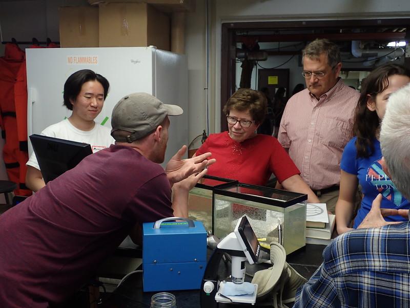 Vince Butitta explains zooplankton to Chancellor Blanke