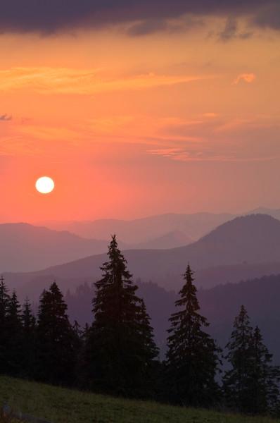 Sunset over Rodna Mountains near Borsa, Maramures, Romania