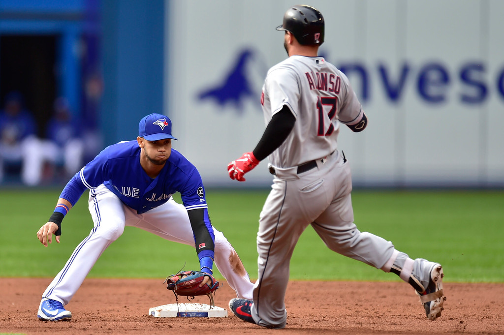 . Toronto Blue Jays shortstop Lourdes Gurriel Jr. (13) waits to tag out Cleveland Indians Yonder Alonso (17) as he tries for a double during the second inning of a baseball game in Toronto, Saturday, Sept .8, 2018. (Frank Gunn/The Canadian Press via AP)
