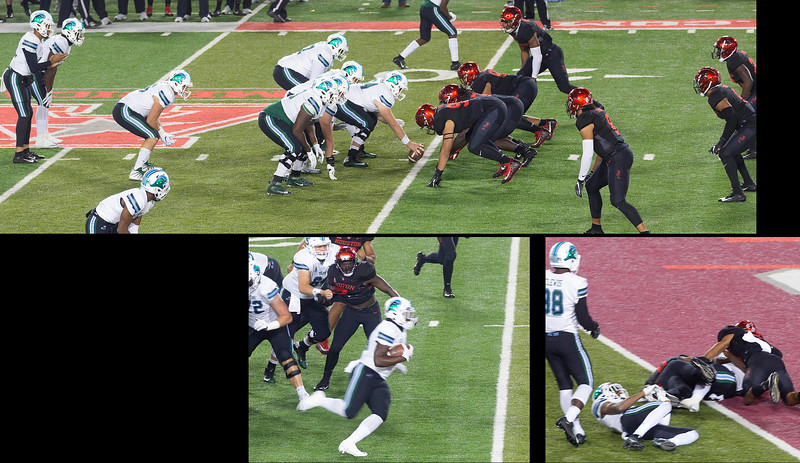 Tulane rushes for its first touchdown.