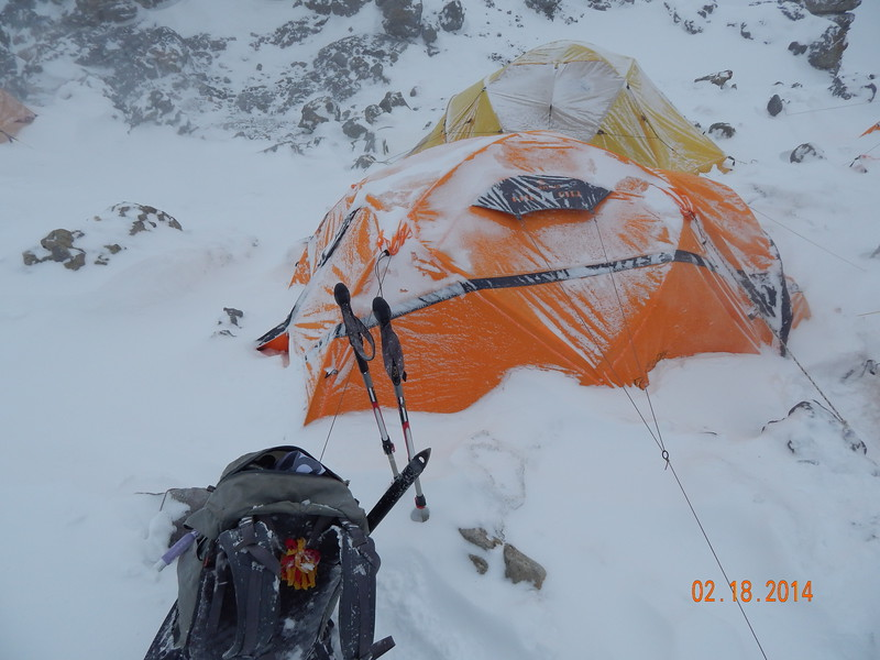 Our buried tents in Camp 3 at 19,151 feet