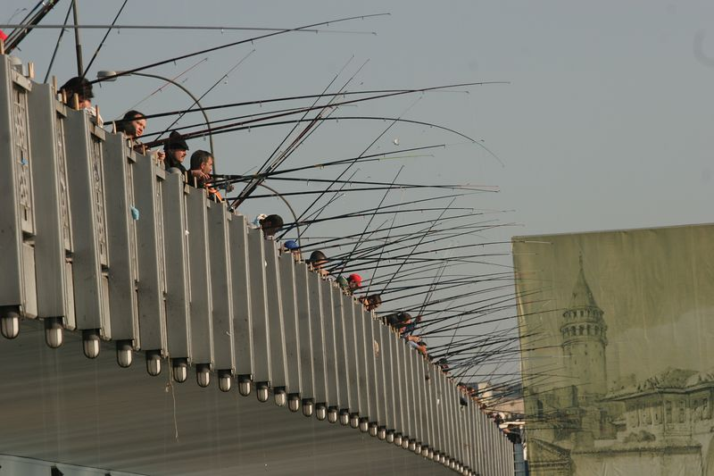 Fishing from Galata Bridge, Istanbul