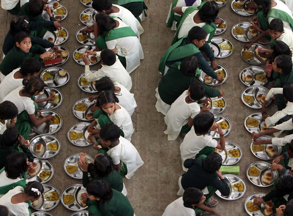 . Lunchtime at Pardada Pardadi School in Anupshahr, India on March 25.