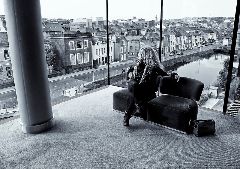 Woman at a hotel lobby.  Cork, Ireland, 2013.