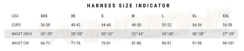 Mystic Harness Size Chart