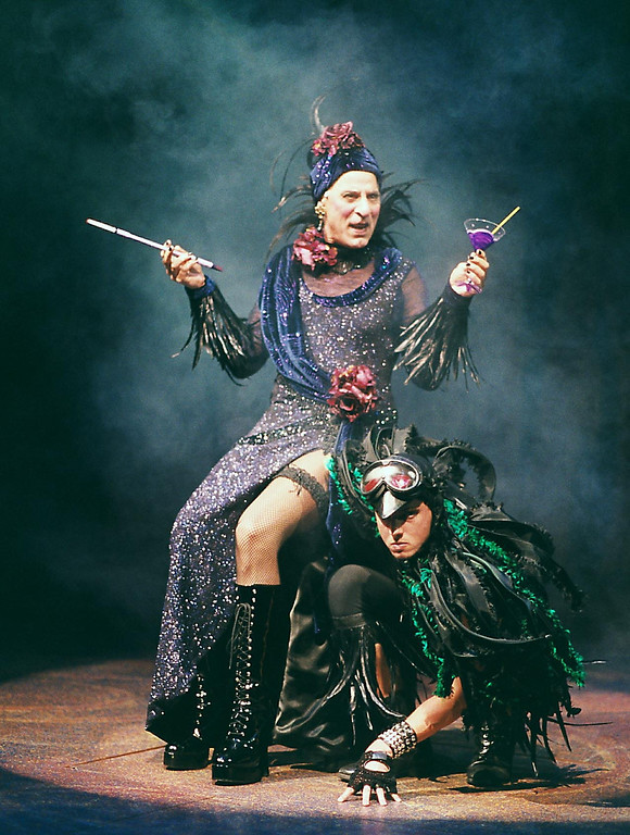 ". Carmen Monoxide (Joseph Ribiero) and Russell Crow in the Shakespeare Santa Cruz production of ""Gretel and Hansel.\"" (R.R. Jones/Contributed)"