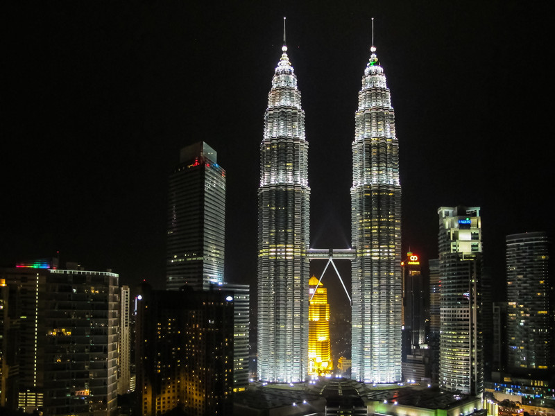 The iconic Petronas towers lit up at night