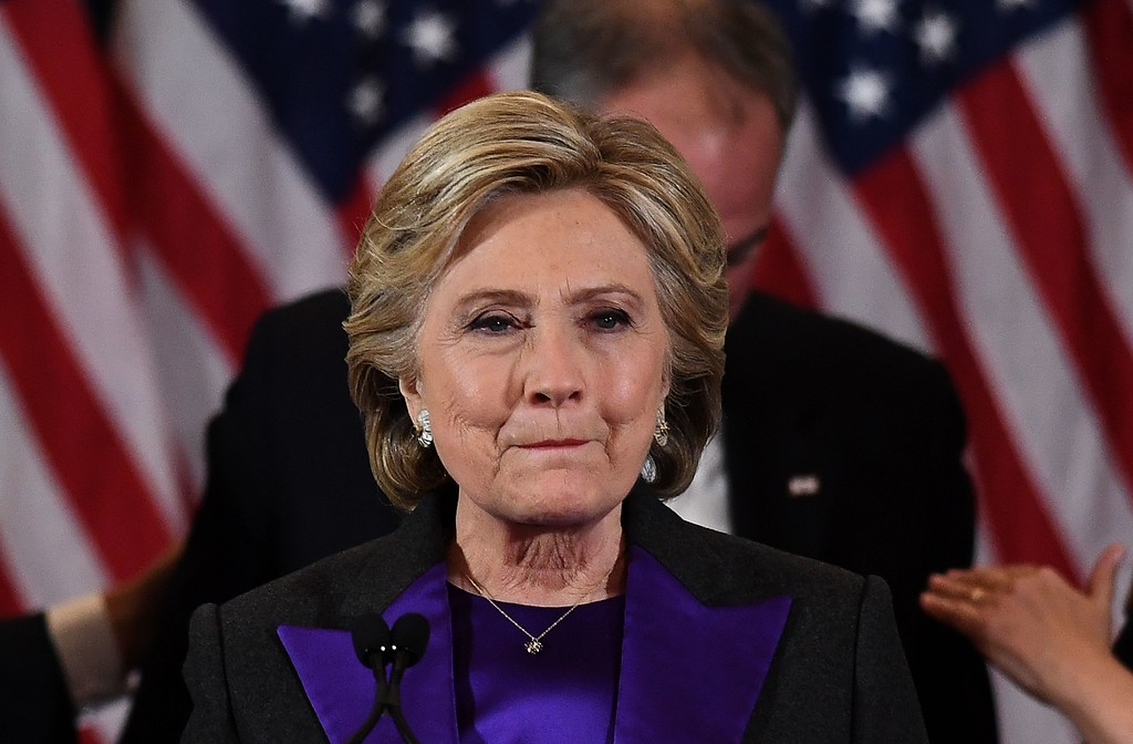 . US Democratic presidential candidate Hillary Clinton makes a concession speech after being  defeated by Republican president-elect Donald Trump in New York on November 9, 2016. (JEWEL SAMAD/AFP/Getty Images)