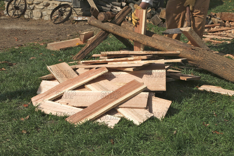 Handmade wooden shingles, at the Pioneer Days Festival in Fowler Park, near Terre Haute, IN