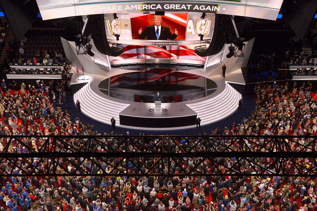 . Republican Presidential Candidate Donald Trump steps to the podium to introduce his wife Melania during the opening day of the Republican National Convention in Cleveland, Monday, July 18, 2016. All eyes were on Cleveland in July when the city played host to the 2016 Republican National Convention. (AP Photo/Mark J. Terrill)