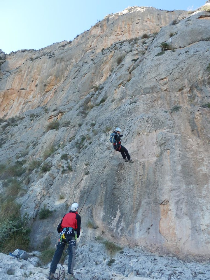 Final abseil on the Ponoch Via Ferrata