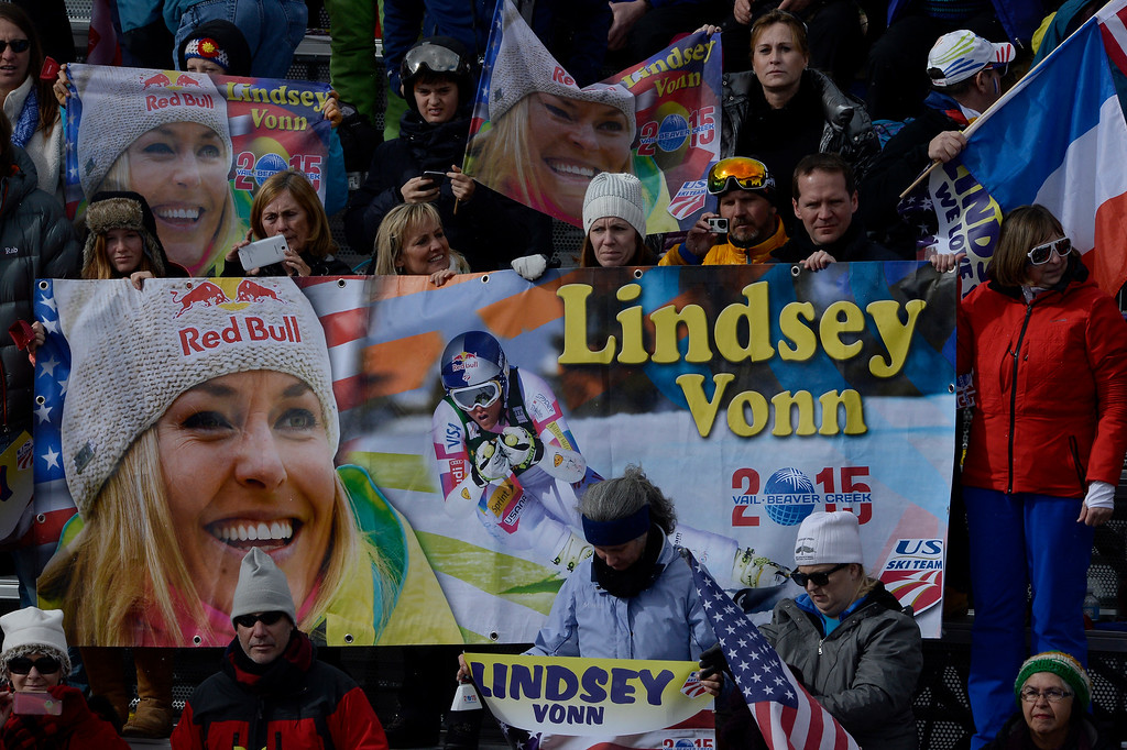 . BEAVER CREEK, CO - FEBRUARY 03: Lindsey Vonn fans cheer during the the ladies\' super-G finals. FIS Alpine World Ski Championships 2015 on Tuesday, February 3, 2015. (Photo by AAron Ontiveroz/The Denver Post)