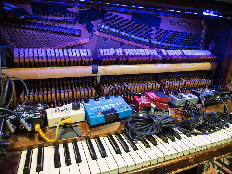 Marco Benevento's piano is heavily accessorized, and cycles through festive colors.