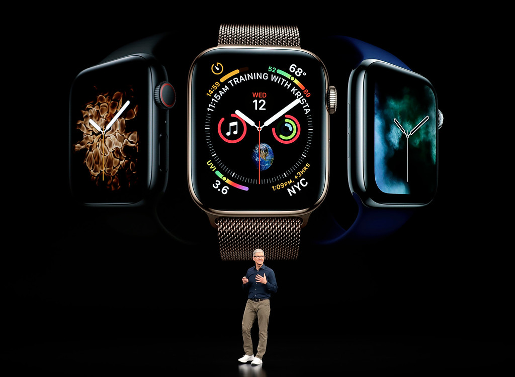 . Apple CEO Tim Cook discusses the new Apple Watch 4 at the Steve Jobs Theater during an event to announce new products Wednesday, Sept. 12, 2018, in Cupertino, Calif. (AP Photo/Marcio Jose Sanchez)