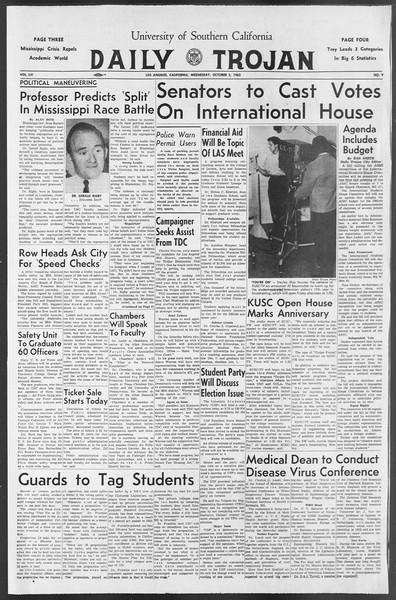 Daily Trojan, Vol. 54, No. 8, October 03, 1962