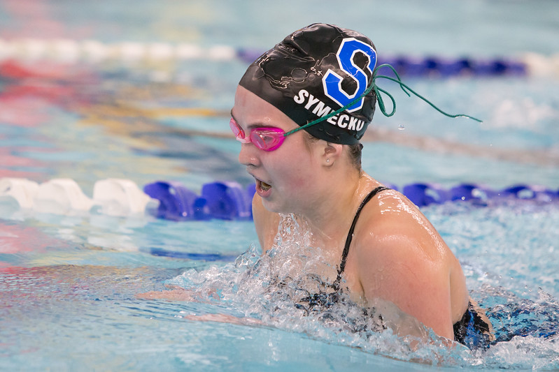 Southington's Madeline Symecko swims the breast stroke in the 200 individual medley Wednesday at the YMCA in Southington September 27, 2017 | Justin Weekes / For the Record-Journal
