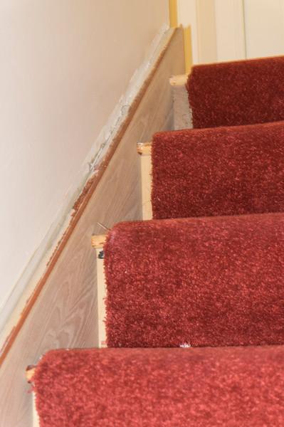 Existing stair stringer clad in 6mm Oak veneered MDF