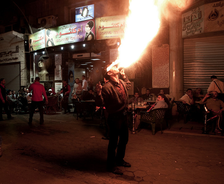 Street performer in central Cairo.  Egypt, 2010.