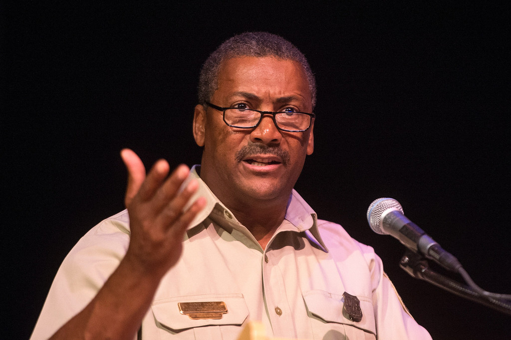 . Randy Moore, regional forester of the U.S. Forest Service, speaks about the San Gabriel Mountains being considered for national monument status during a San Gabriel Mountains meeting Tuesday night, August 26, 2014 at Baldwin Park Performing Arts Center. Rep. Judy Chu has a bill to make the area a national recreation area but has since asked President Obama to consider the mountains a national monument. (Photo by Sarah Reingewirtz/Pasadena Star-News)