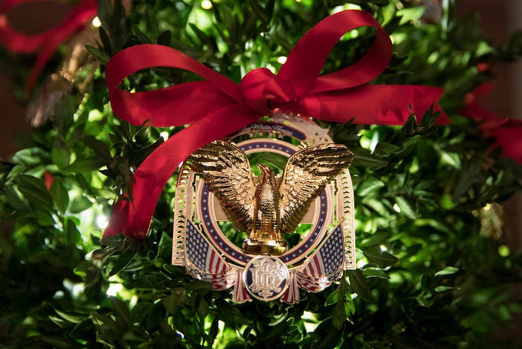 . Official 2017 White House Christmas Ornament is seen during a media preview of the 2017 holiday decorations at the White House in Washington, Monday, Nov. 27, 2017. (AP Photo/Carolyn Kaster)