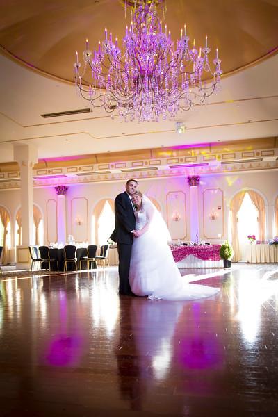 Jen & Ryan on the ballroom floor at Merion Caterers