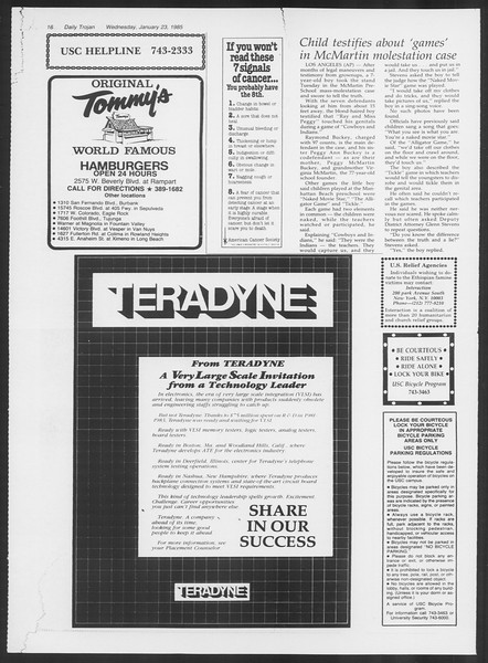 Daily Trojan, Vol. 98, No. 9, January 23, 1985