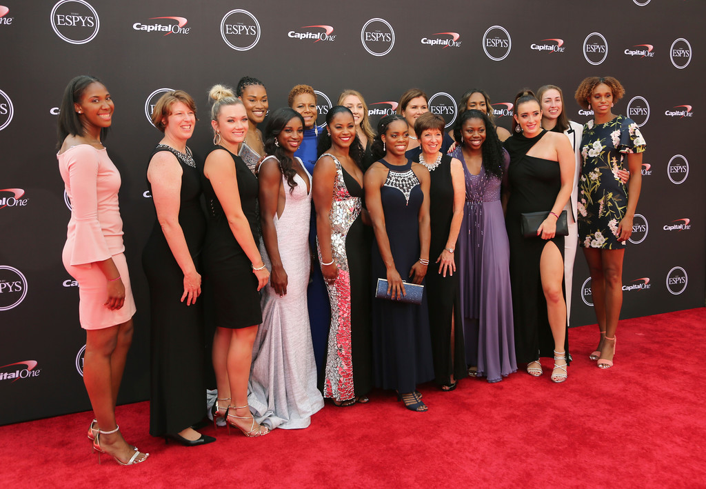 . The Notre Dame women\'s basketball team arrives at the ESPY Awards at Microsoft Theater on Wednesday, July 18, 2018, in Los Angeles. (Photo by Willy Sanjuan/Invision/AP)