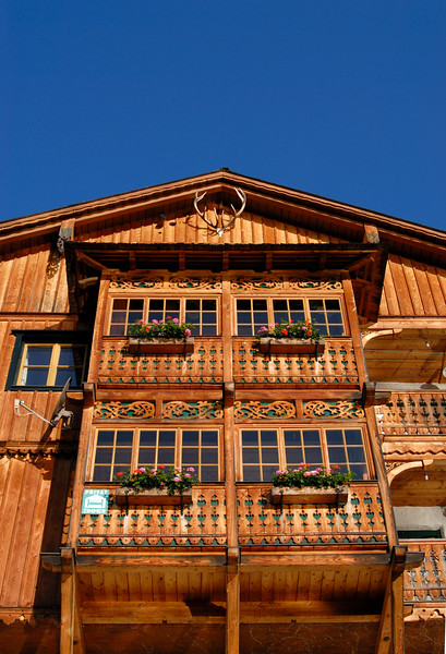 Traditional Wooden Gable of Alpine Houses in Hallstatt, Salzkammergut, Upper Austria