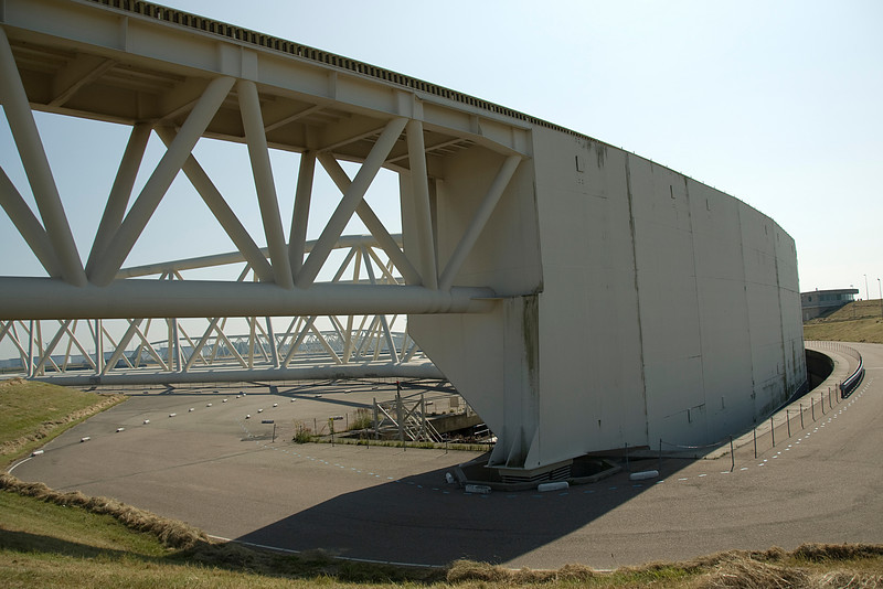 The Maeslant storm surge barrier in Netherlands