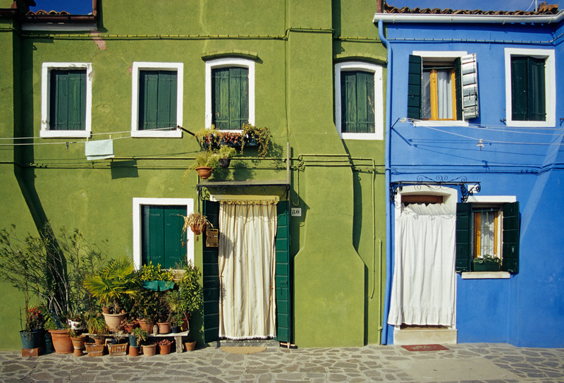 Green and Blue Painted House Fronts, Burano, Venice