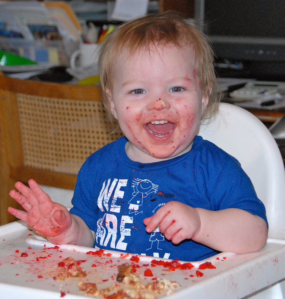 2011/1/23 - I'm sure Olin will be in my 365 project many times this year, especially while he is living with us. This was Sunday dinner and Olin had made a big mess trying to eat raspberry Jello with his fingers. When he couldn't pick it up he would lean over and suck it up off the tray top. We were laughing so hard and then he started laughing with us. He knew he was the center of attention.