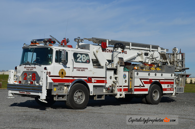 Mechanicsburg X-Truck 28: 1990 Mack CF/Baker 75' Aerialscope (** sold to Kittanning #1, Armstrong Co., PA **)