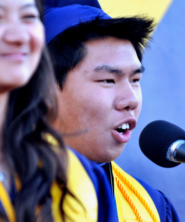 . 2014 Class Valedictorian Tony Hua.  South El Monte High School Graduation on their football stadium, Wednesday, June 11,  2014.  (Mike Mullen photo)